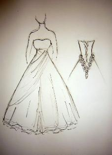 A wedding dress design on the drawing board