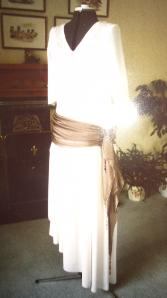 1920s style wedding dress in coffee and cream for a second time bride by Bridal Creativity of Elgin, Moray